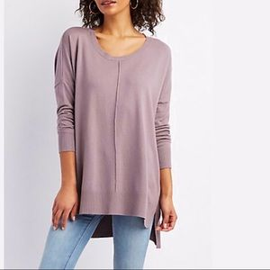 Sweaters - lilac over sized crew neck sweater